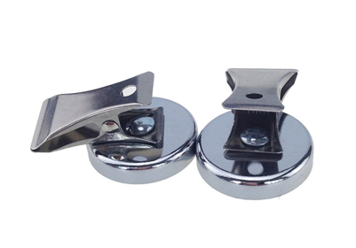Pot magnet (Ferrite), with clamp, Cr coating, body stamping machining